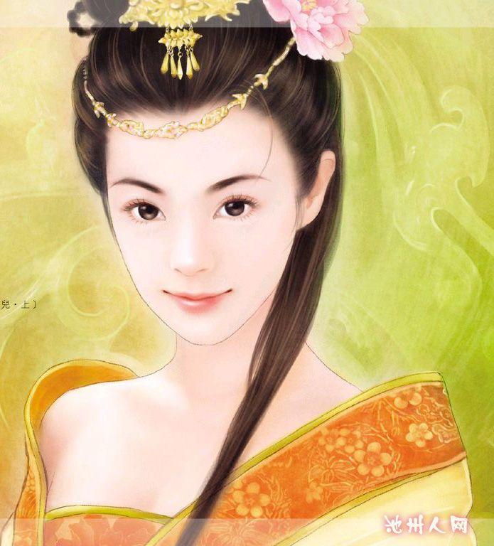 手绘的古装美女新娘