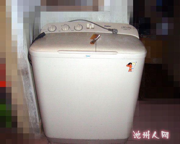 出售自用海尔洗衣机一台海尔小神螺(半自动)