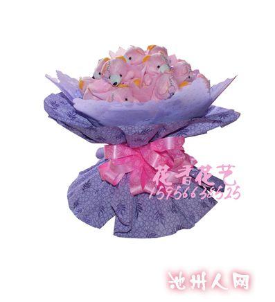 鲜花花束与防真花