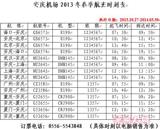 安庆机场2013冬春季航班时刻表