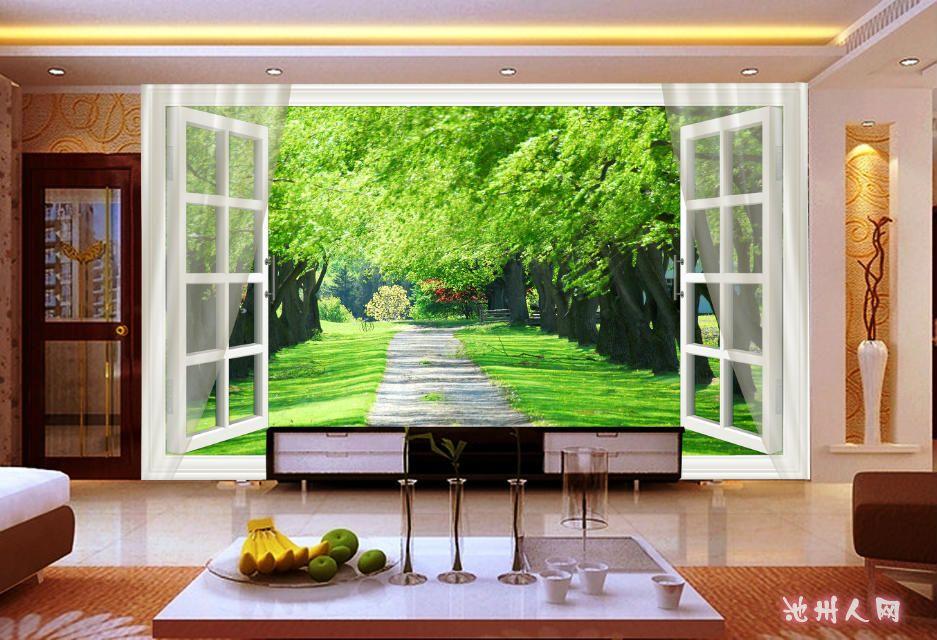 冰晶电视背景墙画效果图