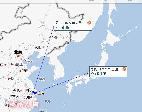 上海到日本比到哈尔滨还近一点呢