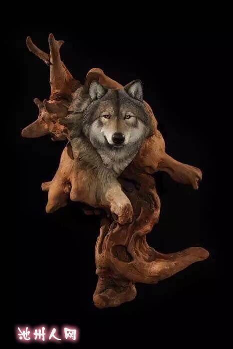 精美木雕动物!